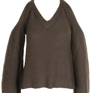 American Rag Olive BellSleeve ColdShoulder sweater